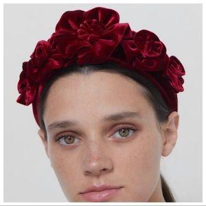 NWOT. Zara Burgundy Velvet Floral Headband.